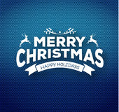 Christmas calligraphy on knitted pattern Royalty Free Stock Images