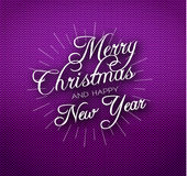 Christmas calligraphy on knitted pattern Royalty Free Stock Photos