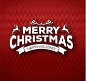Christmas calligraphy on knitted pattern Royalty Free Stock Photo
