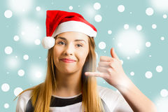 Christmas calling girl Royalty Free Stock Photo