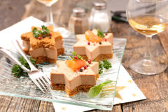 Christmas canape. With gingerbread and foie gras stock images