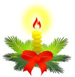 Christmas candels. Yellow Christmas candel computer illustration stock illustration