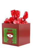 Christmas candies decoration. Box on white bacground Royalty Free Stock Images