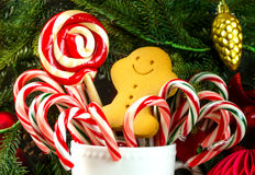 Christmas candies with gingerbread man Royalty Free Stock Photos