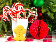 Christmas candies with gingerbread man Stock Photos