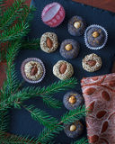 Christmas candies with nuts royalty free stock photos