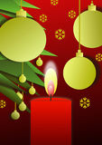 Christmas candle 1. Christmas candle and balls near Christmas tree royalty free illustration