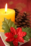Christmas candle. And christmas decorations Royalty Free Stock Photography