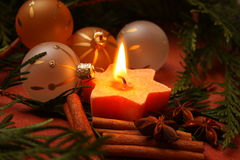 Christmas candle. And christmas decorations Royalty Free Stock Photos