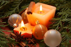 Christmas candle. And christmas decorations Royalty Free Stock Photo