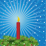 Christmas candle. Burning red Christmas candle. Vector illustration Royalty Free Stock Photo