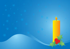 Christmas candle. Postcard illustration in warm colors Royalty Free Stock Images