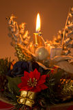 Christmas candle. Gift and flower Stock Photo