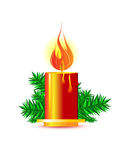 Christmas candle. On white background Royalty Free Stock Photography