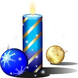 Christmas candle. A beautiful Christmas card with a candle Royalty Free Stock Image