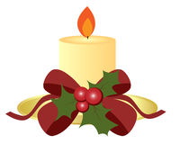 Christmas candle. Illustration of a Christmas candle with red ribbon and holly berry, isolated on white background.EPS file available Royalty Free Stock Photography