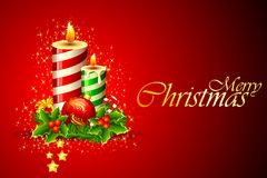 Christmas Candle. Illustration of christmas candle on abstract background Stock Photos