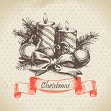 Christmas candle. Hand drawn illustration Royalty Free Stock Image