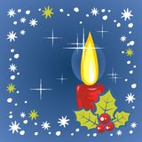 Christmas candle. Stylized christmas candle and holly berry on a  blue background Stock Photography