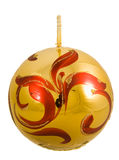 Christmas candle. Decorated christmas candle with golden and red ornaments stock photography
