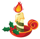 Christmas candle. Cartoon  vector illustration Stock Photography