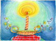 Christmas candle. A Christmas shining candle . Pastels illustration Stock Photography