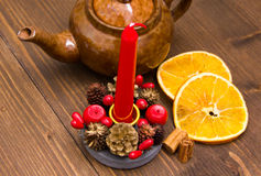 Christmas candle from above Royalty Free Stock Photography