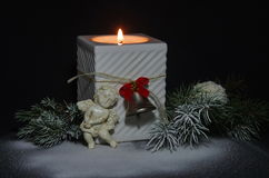 Christmas Candle with an Angel Royalty Free Stock Images