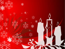 Christmas candle background. White Christmas candle silhouettes on a reddish background with snowflake designs Royalty Free Stock Images