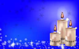 Christmas candle background. Christmas background with candles and snow Royalty Free Stock Image