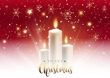 Christmas candle background. Christmas snowflake background with elegant candles and gold text royalty free illustration