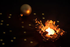 Christmas candle and ball Stock Images
