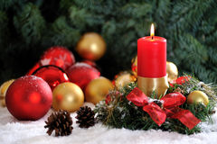 Christmas candle and balls #1 Royalty Free Stock Photos