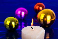 Christmas candle and balls Royalty Free Stock Photography