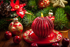 Christmas candle with balls Stock Photography
