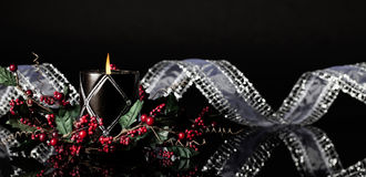 Christmas Candle Banner Royalty Free Stock Images