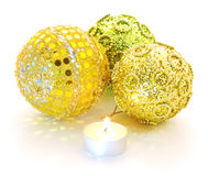 Christmas candle and baubles Royalty Free Stock Photos