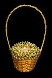 Christmas candle with beads in basket  isolated Royalty Free Stock Photo