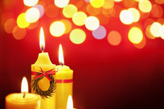 Christmas candle with blurred light Royalty Free Stock Photography