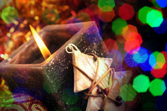 Christmas candle with blurred lights Royalty Free Stock Image