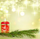 Christmas candle and branch of tree stock photography