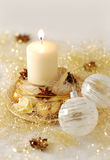 Christmas candle burning Royalty Free Stock Image