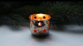 Christmas candle burning stock footage