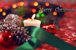 Of Christmas candle Royalty Free Stock Images