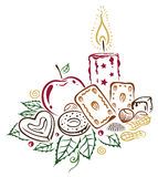 Christmas, candle, candy. Colorful christmas decoration, with candle, cookies and nuts Stock Photography