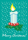 Christmas candle card Royalty Free Stock Images