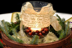 Christmas Candle Centerpiece Stock Images