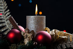 Christmas with candle Stock Photos