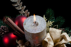 Christmas with candle Royalty Free Stock Photo