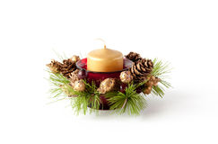 Christmas candle composition Royalty Free Stock Images